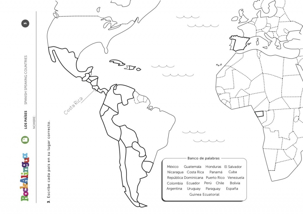 Spanish Speaking Countries | Worksheet | Rockalingua - Printable Map Of Spanish Speaking Countries