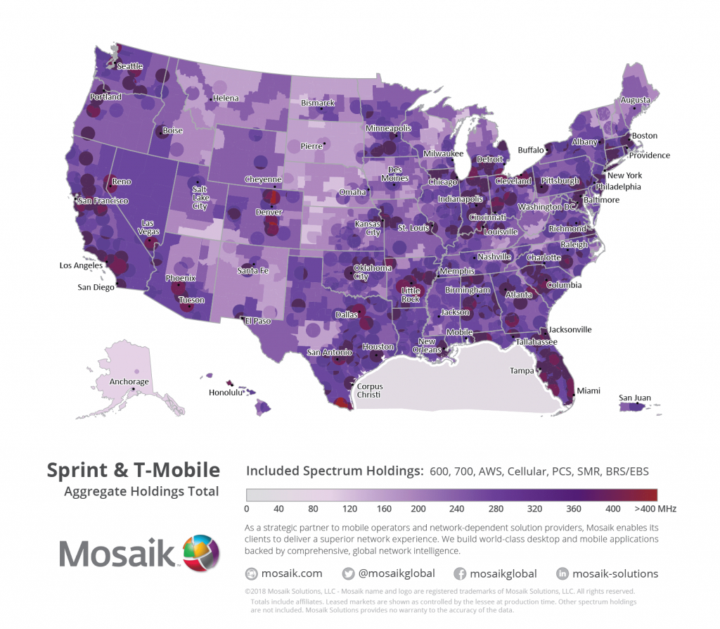 Spectrum Position Of A Merged T-Mobile Us/sprint - Rcr Wireless News - Spectrum Coverage Map Florida