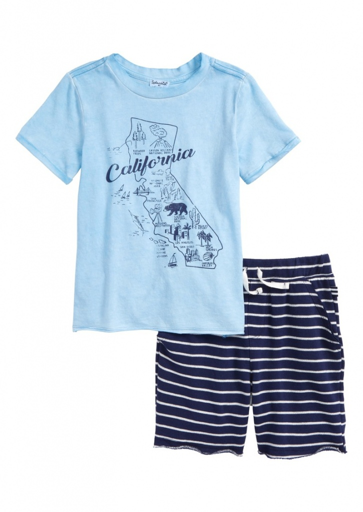 Splendid Splendid California Map T-Shirt & Shorts Set (Toddler Boys - California Map Shirt