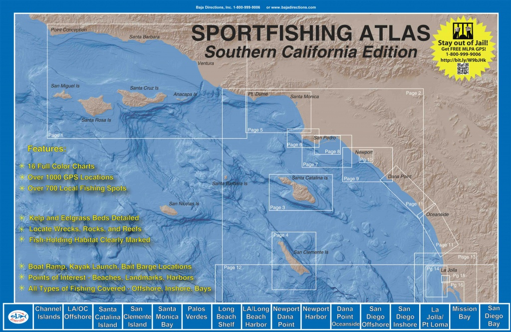 Sportfishing Atlas Southern California Edition - Baja Directions - Southern California Fishing Map