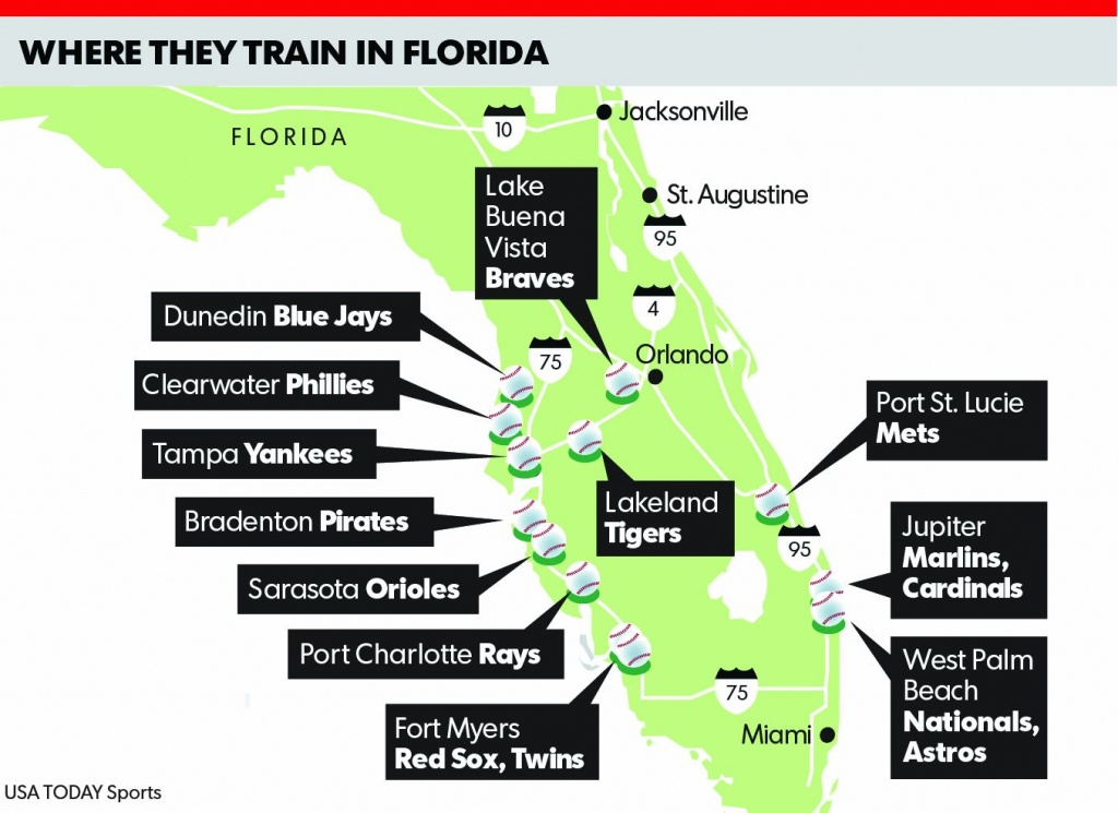 Spring Training 2018 Florida Map | Time Zones Map - Florida Spring Training Map