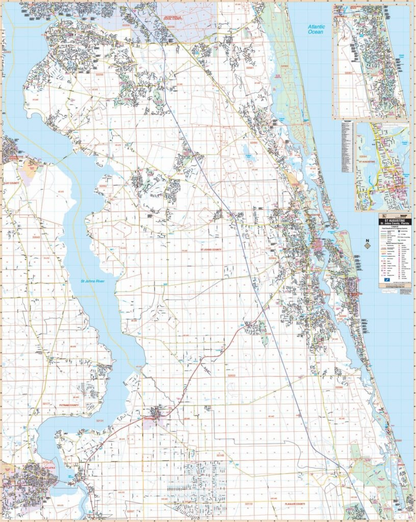 St Augustine, Fl Wall Map – Kappa Map Group - Map Of St Johns County Florida