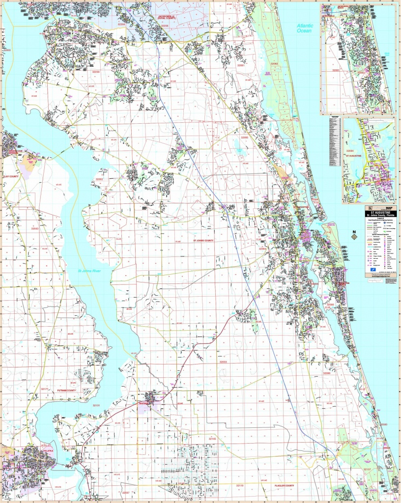 St Augustine, Fl Wall Map - Maps - Map Of St Johns County Florida
