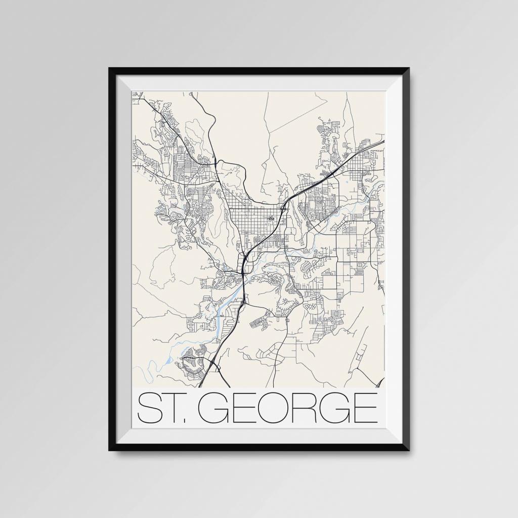 St. George Utah Map St. George City Map Print St. George Map   Etsy - Printable Map Of St George Utah