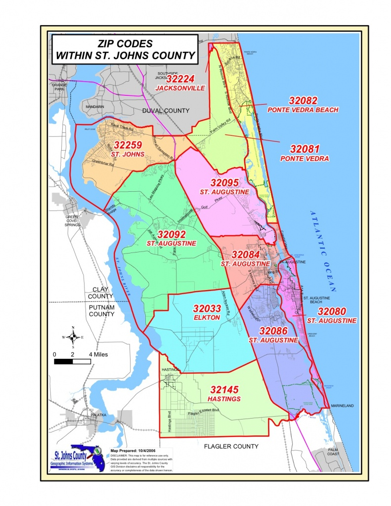 St. Johns County Zip Codes - Map Of St Johns County Florida