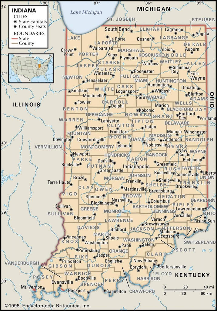 State And County Maps Of Indiana - Printable Map Of Indiana