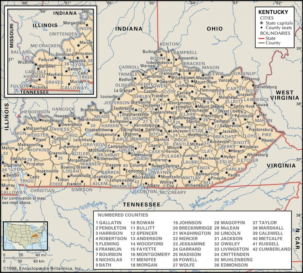 State And County Maps Of Kentucky - Printable Map Of Kentucky Counties