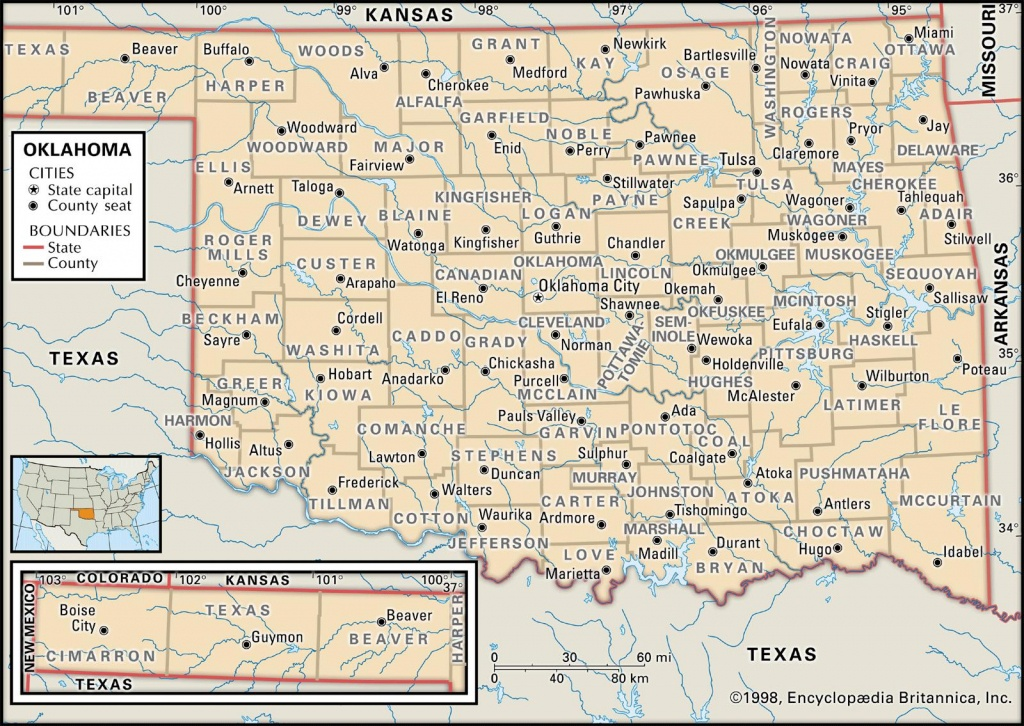 State And County Maps Of Oklahoma - Printable Map Of Norman Ok