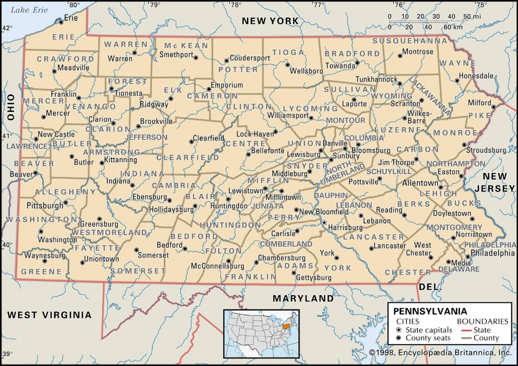 State And County Maps Of Pennsylvania - Printable Map Of Pennsylvania