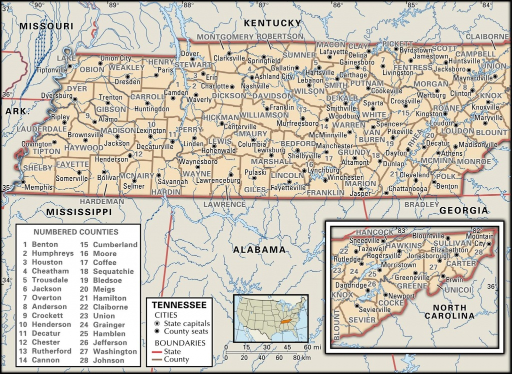 State And County Maps Of Tennessee - Printable Map Of Tennessee With Cities