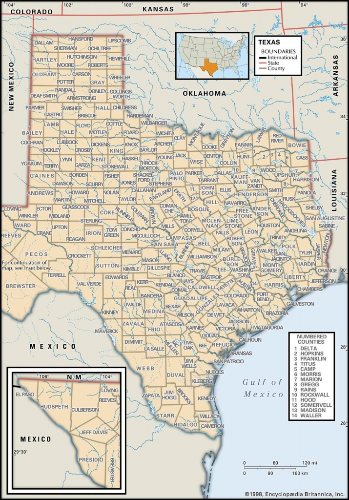 State And County Maps Of Texas - Map Of South Texas Coast