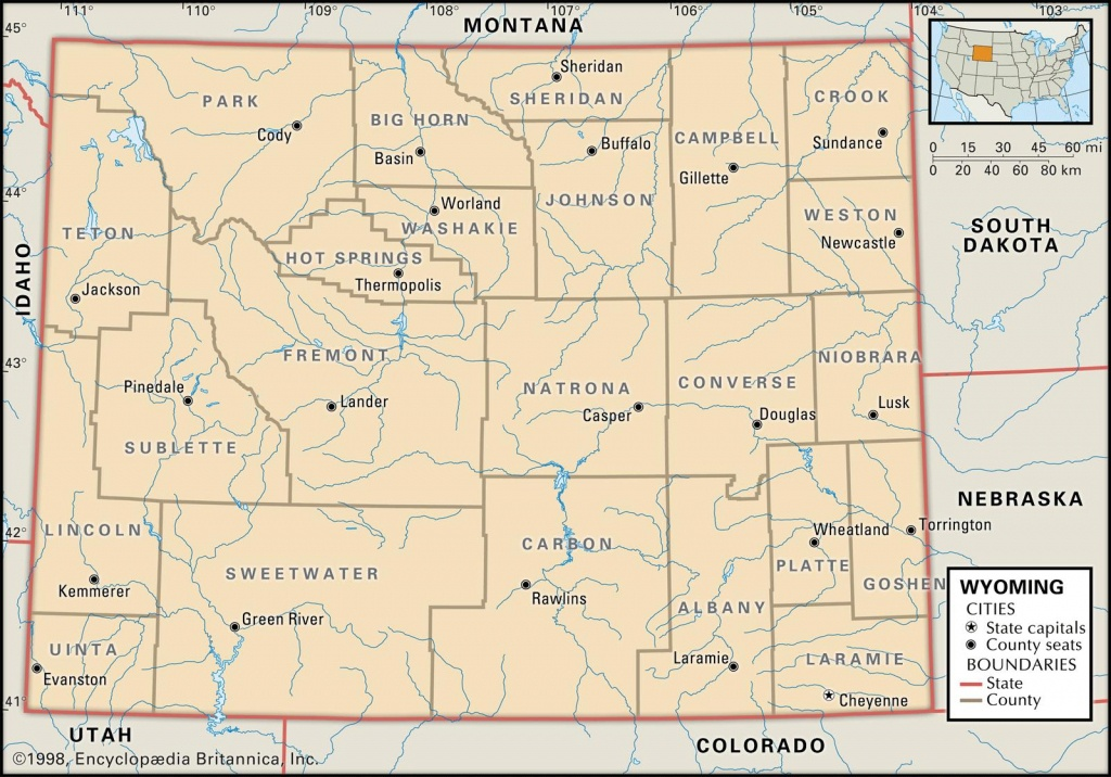 State And County Maps Of Wyoming - Printable Map Of Wyoming