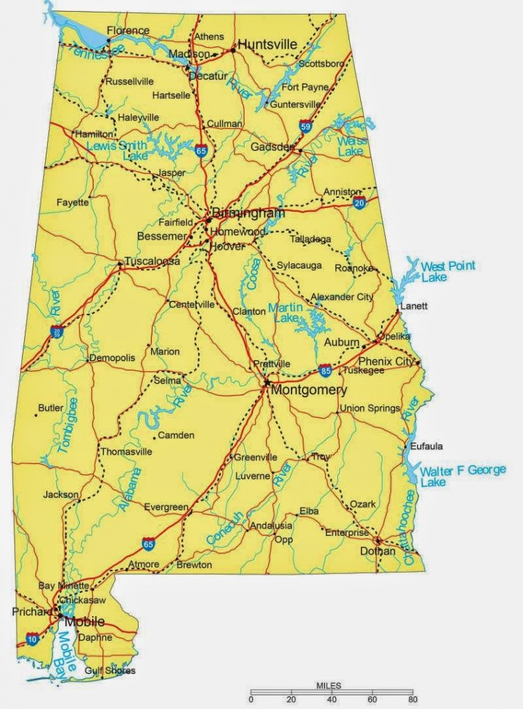 State Of Alabama Road Map - Free Printable Maps - Printable Alabama Road Map