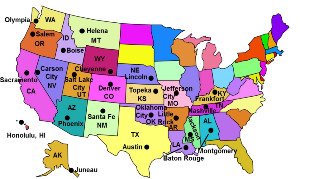 States Capitals Quiz · Free Maps - United States Map States And Capitals Printable Map
