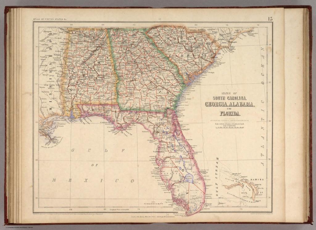 States Of South Carolina, Georgia, Alabama, And Florida. / Rogers - Map Of Alabama And Florida