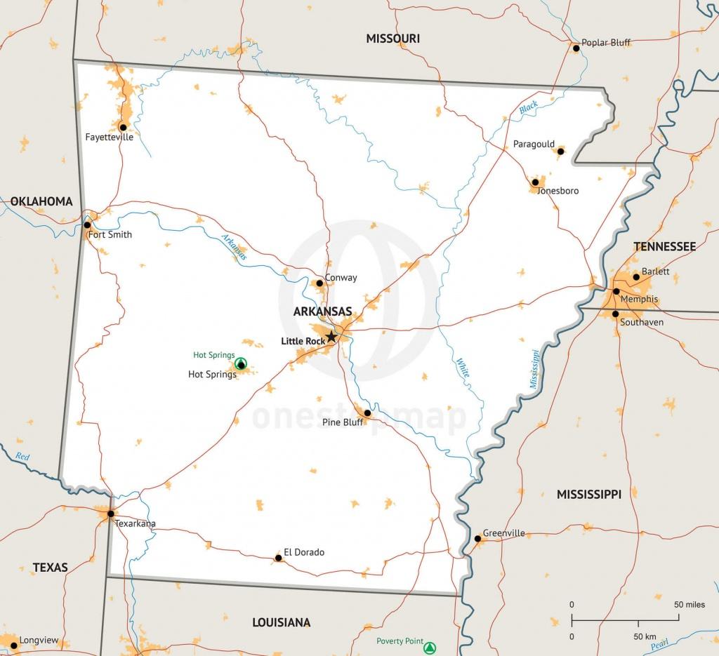 Stock Vector Map Of Arkansas   One Stop Map - Printable Map Of Arkansas
