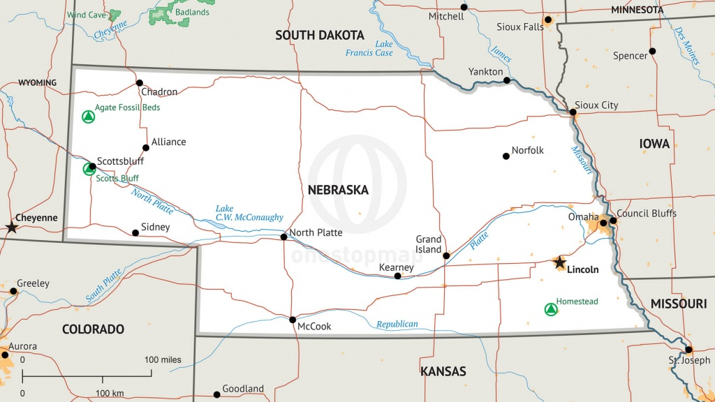 Stock Vector Map Of Nebraska   One Stop Map - Printable Map Of Nebraska