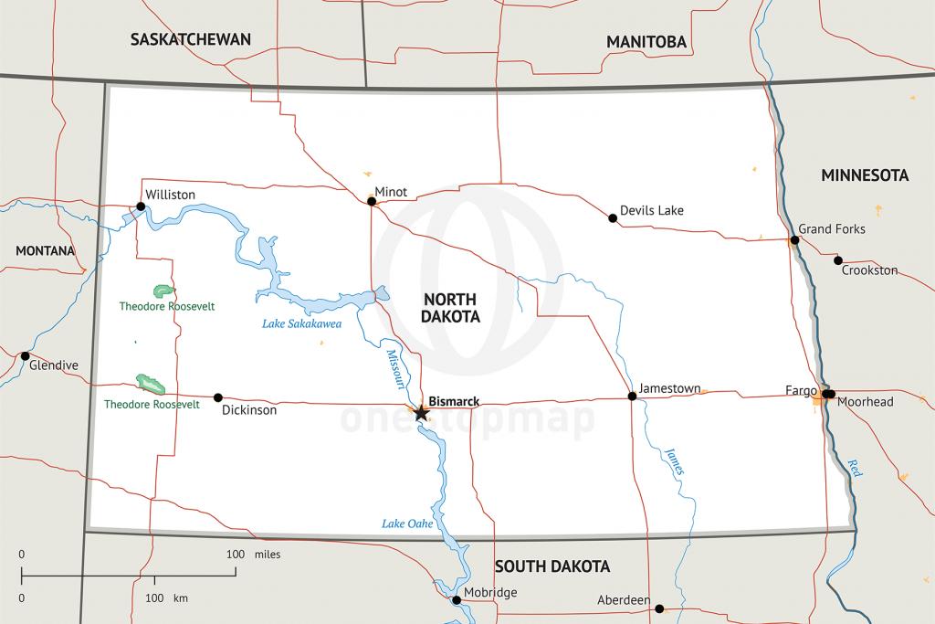 Stock Vector Map Of North Dakota | One Stop Map - Printable Map Of North Dakota