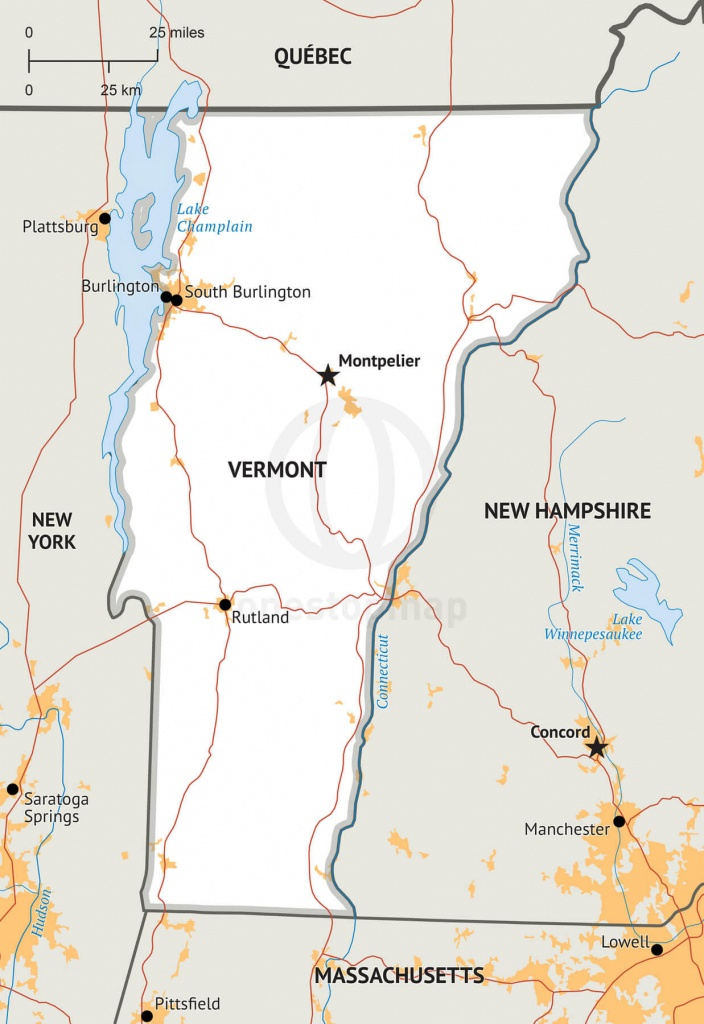 Stock Vector Map Of Vermont | One Stop Map - Printable Map Of Vermont