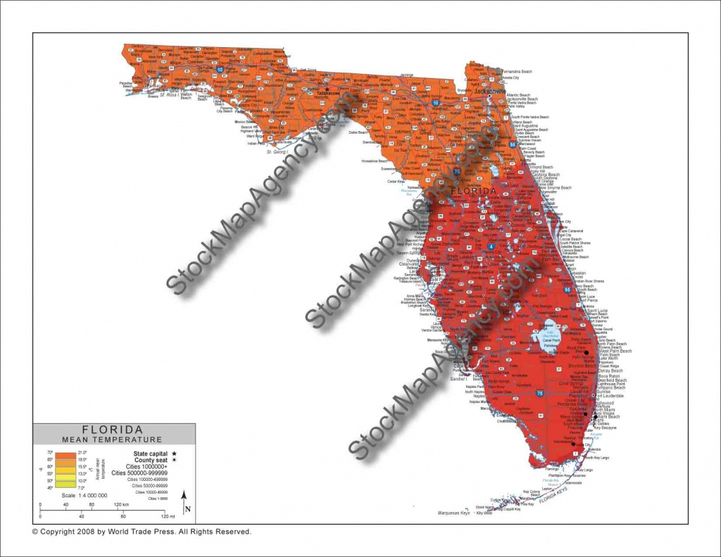 Stockmapagency-Maps Of Florida Offered In Poster Print &jpg - Florida Temp Map