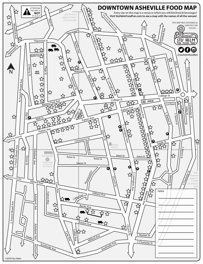 Stu Helm's Mega Food Maps: Downtown Asheville – All Food And Drinks - Printable Map Of Asheville Nc