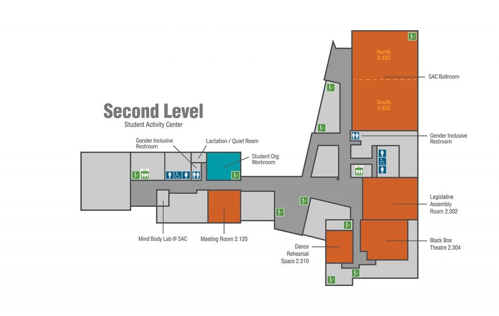 Student Activity Center (Sac) | University Unions | The University - Midnight Texas Map
