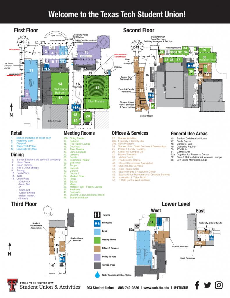 Sub Map | Student Union & Activities | Ttu - Texas Tech Housing Map