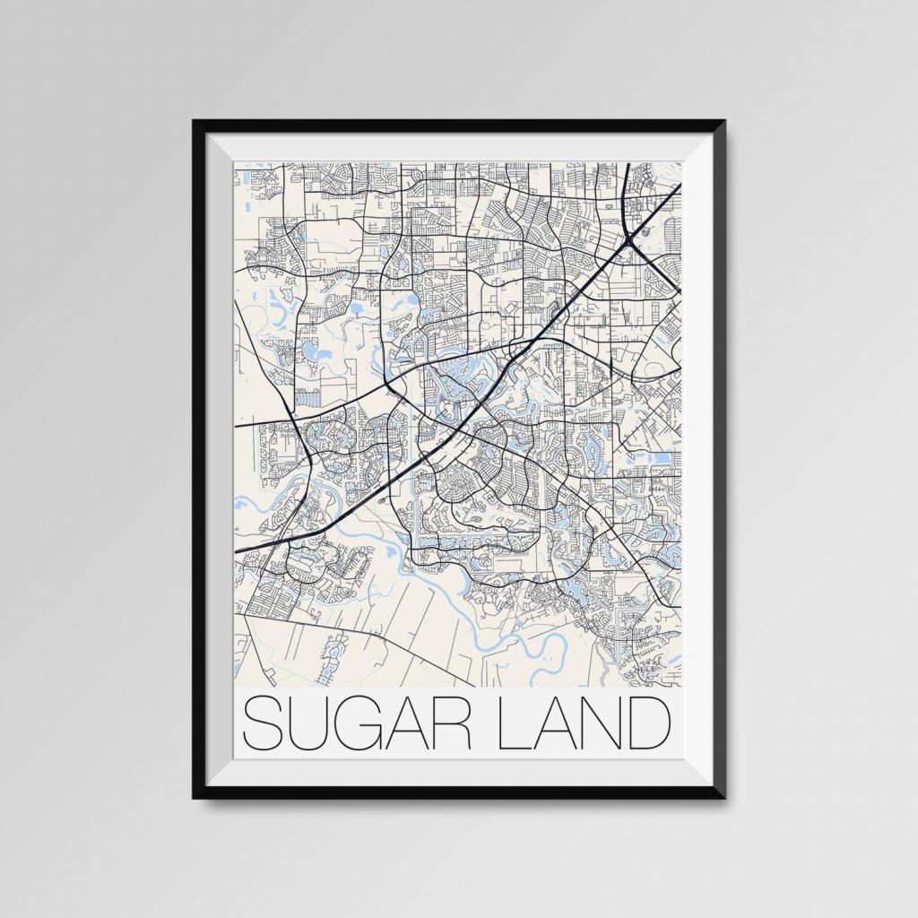Sugar Land Texas Map Sugar Land City Map Print Sugar Land | Etsy - Sugar Land Texas Map