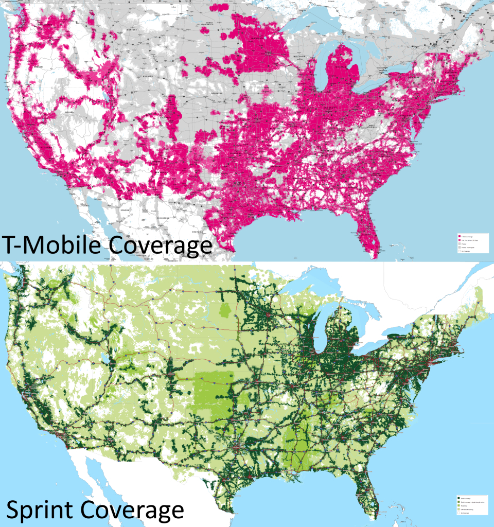 T-Mobile Vs Sprint Coverage Maps (11-15-2015) : Tmobile - Sprint Coverage Map Southern California