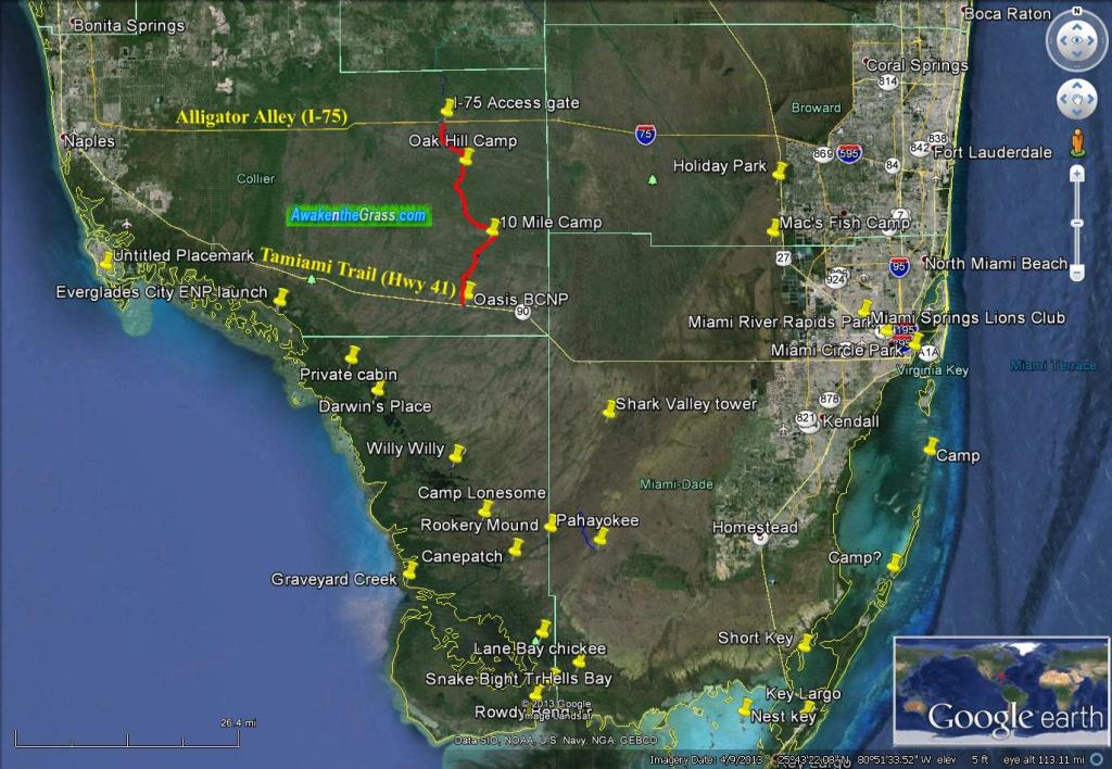 Tamiami Trail To Alligator Alley The Hard Way – Through Hiking The - Tamiami Trail Florida Map