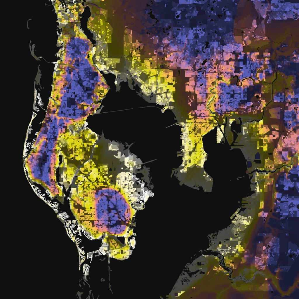 Tampa-St. Petersburg, Florida – Elevation And Population Density, 2010 - Florida Elevation Above Sea Level Map