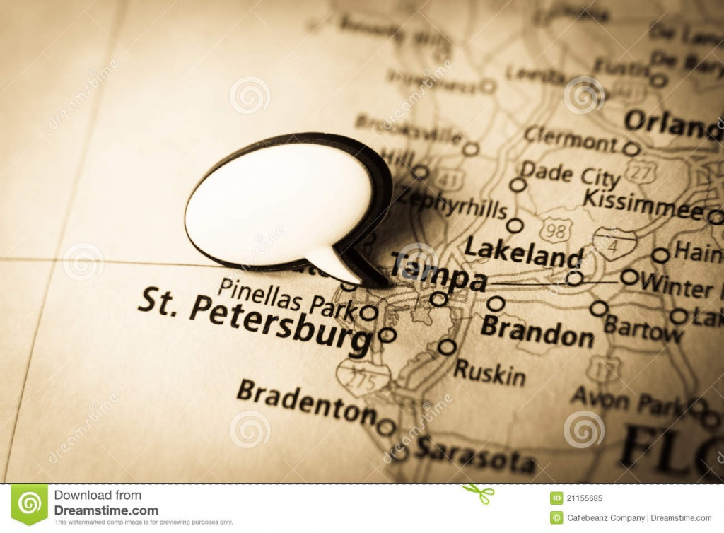 Tampa, St. Petersburg Map Stock Image. Image Of Black - 21155685 - Tampa St Petersburg Map Florida