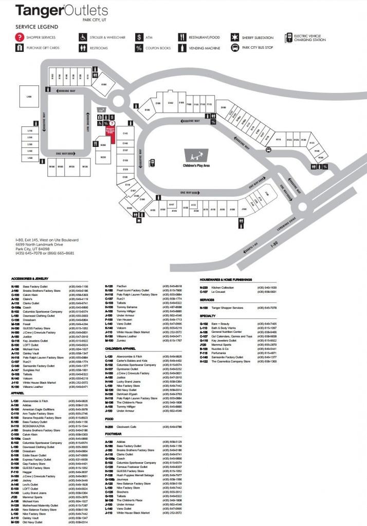 Tanger Outlet Park City Shopping Plan   Mall Maps In 2019   Park - Tanger Outlets Texas City Stores Map