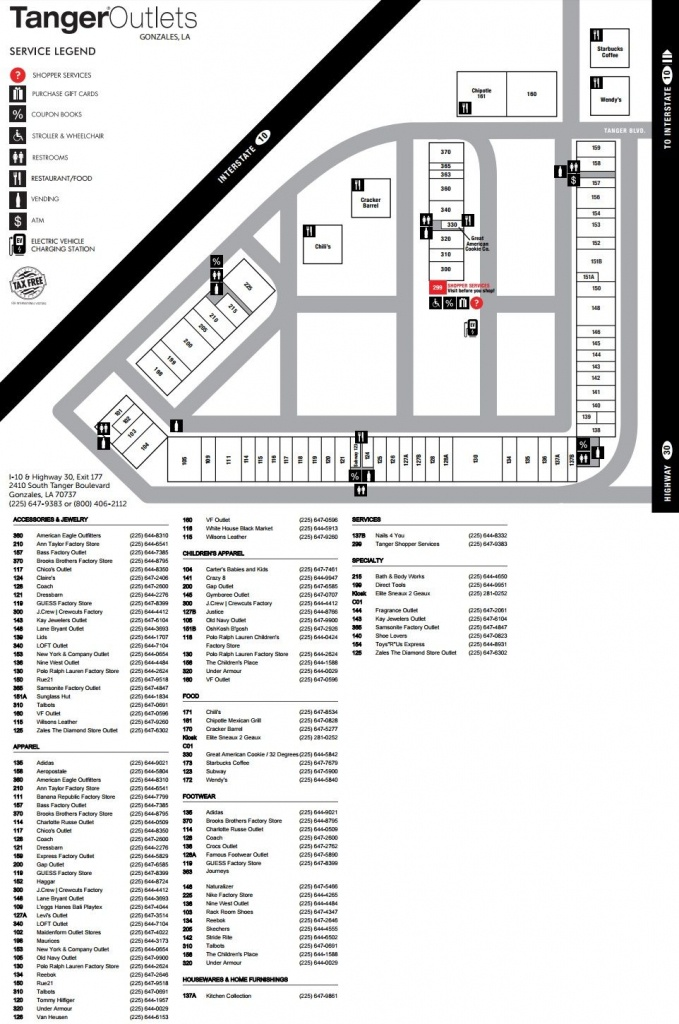 Tanger Outlets Gonzales Shopping Plan   Mall Maps In 2019   Mall - Tanger Outlets Texas City Stores Map
