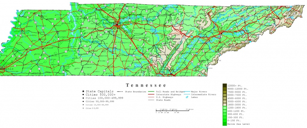 Tennessee Contour Map - Printable Map Of Tennessee With Cities
