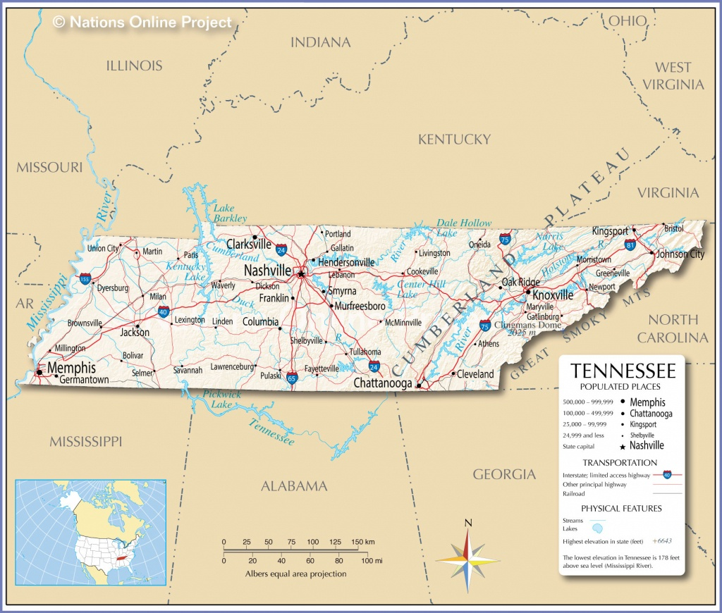Tennessee Map Major Cities | Sitedesignco - Printable Map Of Tennessee With Cities