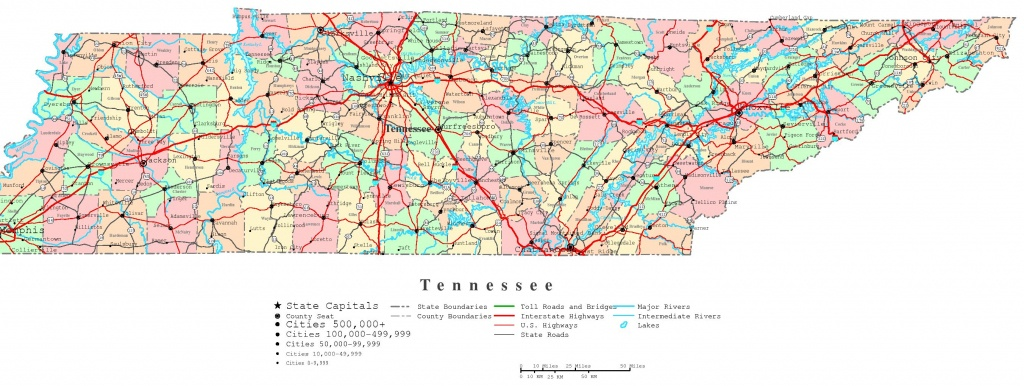 Tennessee Printable Map - Printable Map Of Tennessee With Cities