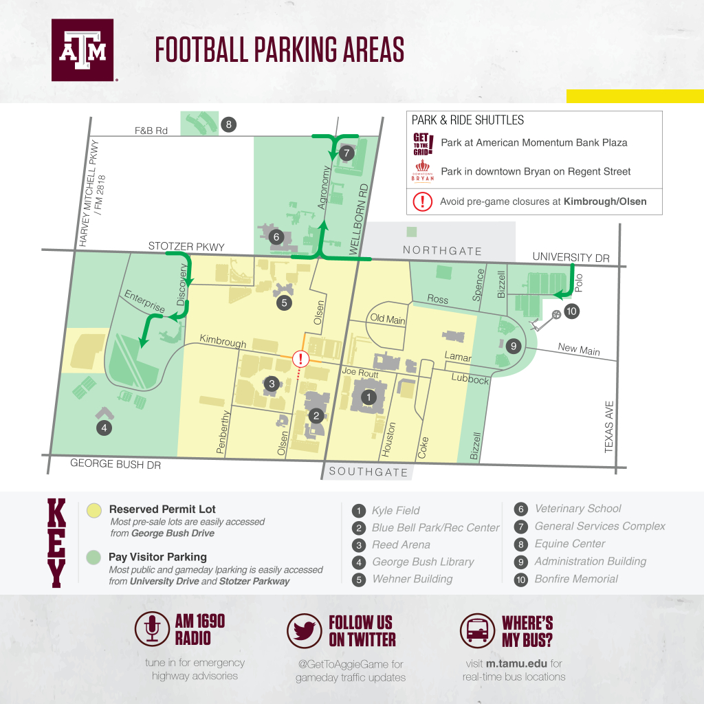 Texas A&m Football Game Day Guide 2017 - Texas A&m Today - University Of Texas Football Parking Map 2016