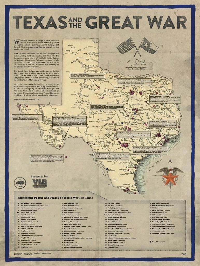 Texas And The Great War — A New Map At The Glo - Save Texas History - Selma Texas Map