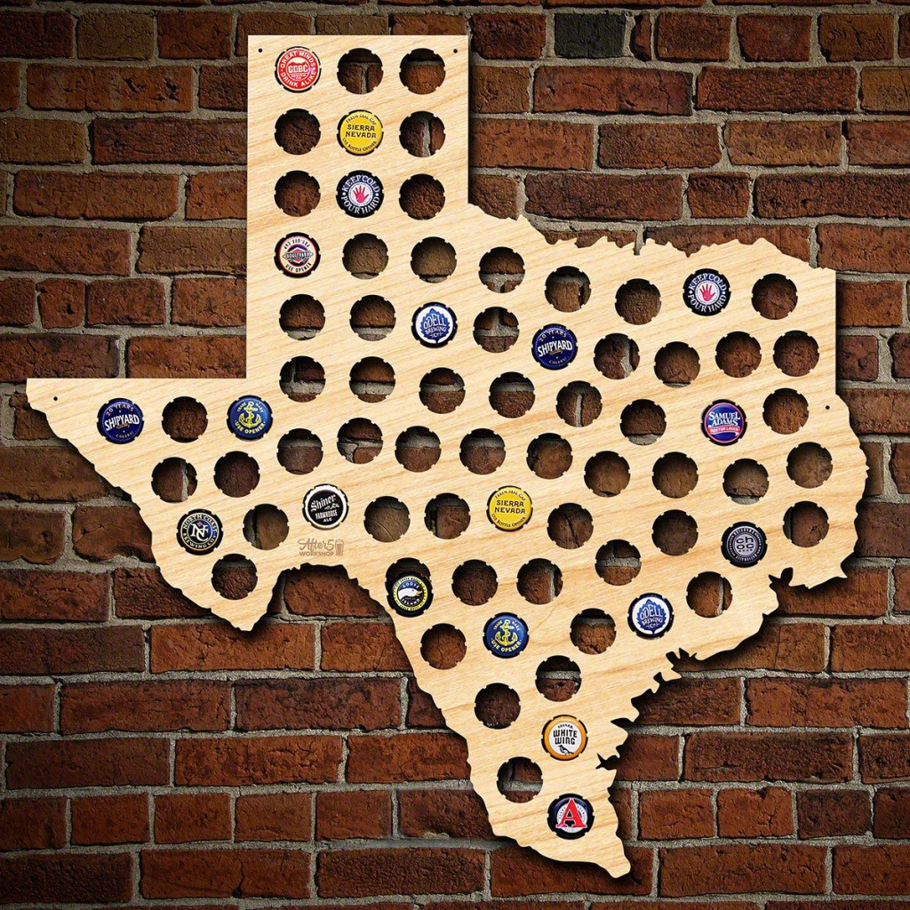 Texas Beer Cap Map - California Beer Cap Map