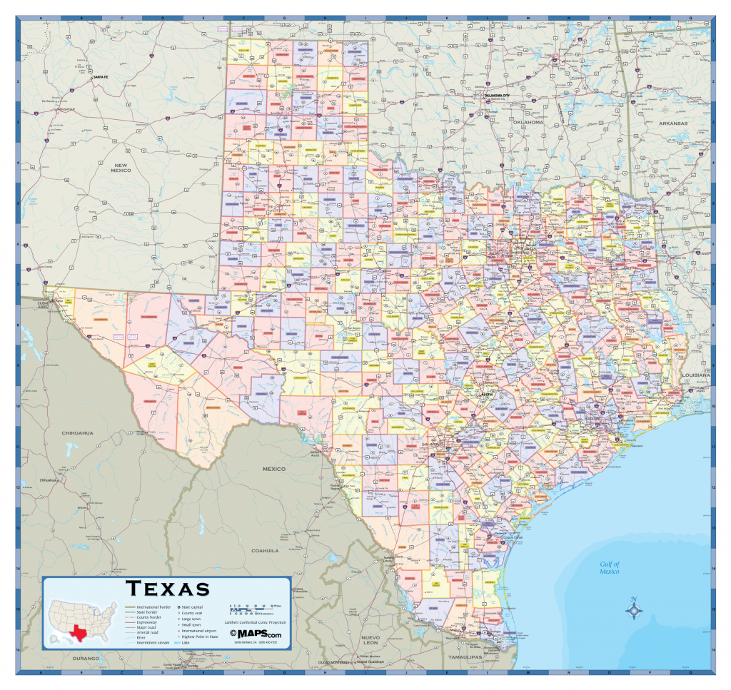 Texas Counties Wall Map - Maps - Texas County Wall Map