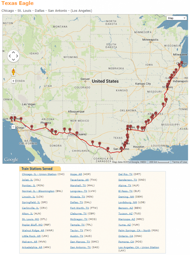 Texas Eagle Amtrak Map | Travel With Grant - Amtrak Texas Eagle Route Map