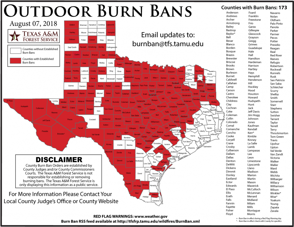 Texas Forest Service Burn Ban Map – Easttexasradio - Texas Burn Ban Map