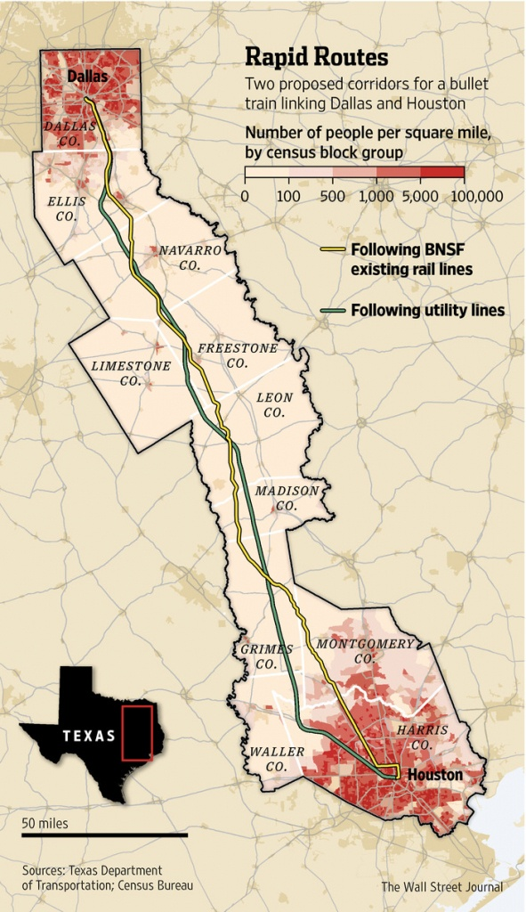 Texas Group Races For High-Speed Rail - Wsj - Texas Bullet Train Route Map