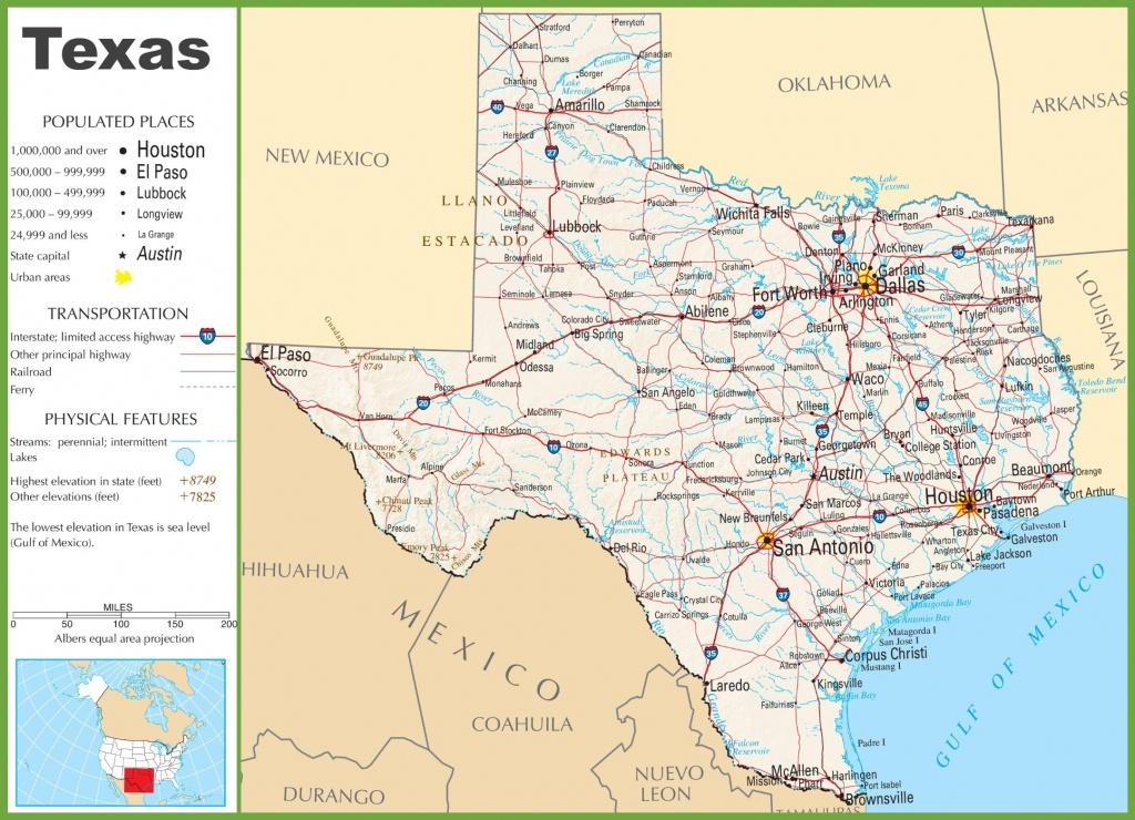 Texas Highway Map - Texas Map Print
