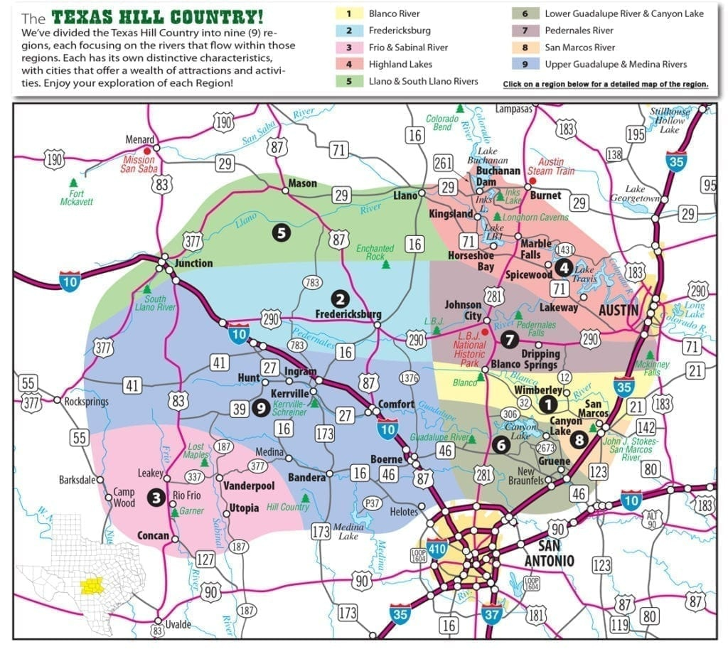 Texas Hill Country Map With Cities & Regions · Hill-Country-Visitor - Texas Wine Country Map