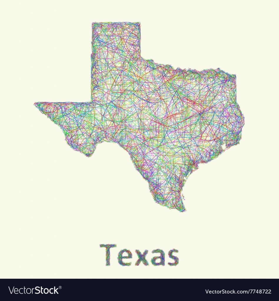 Texas Line Art Map Royalty Free Vector Image - Vectorstock - Map Of Texas Art