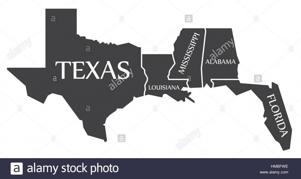 Texas - Louisiana - Mississippi - Alabama - Florida Map Labelled - Florida Louisiana Map