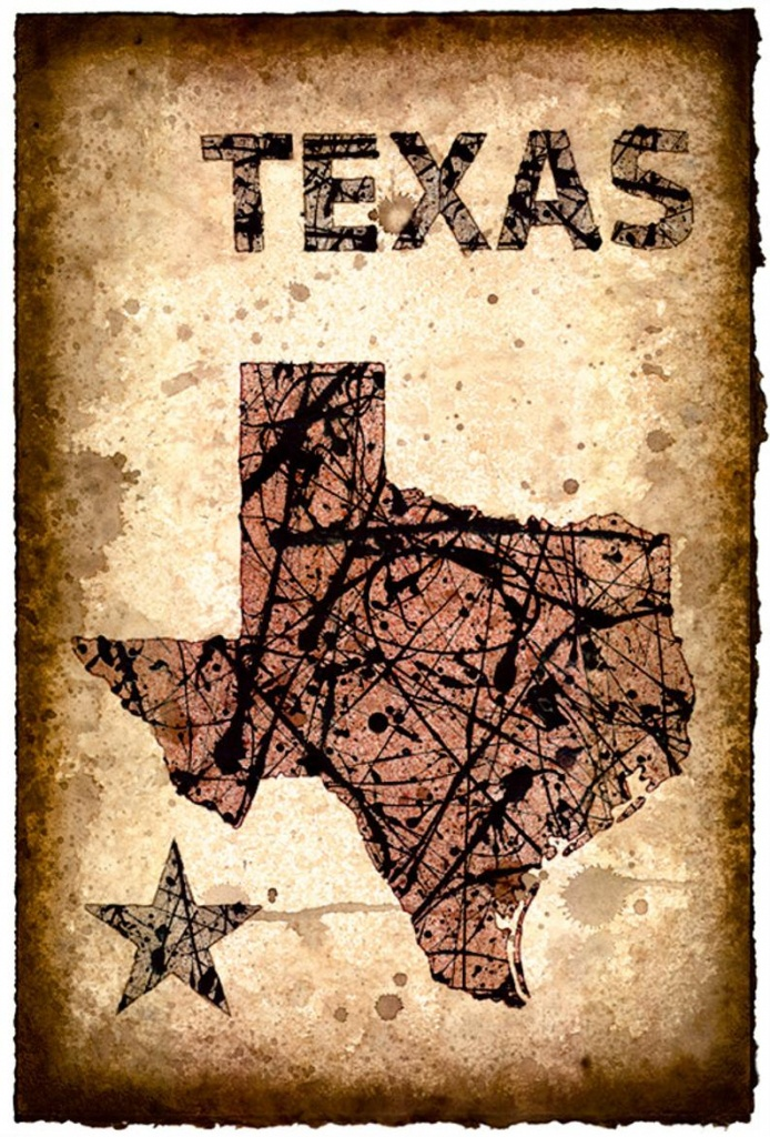 Texas Map Art Print 11 X 16.5 Stencil Prints Of | Etsy - Texas Map Art