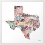 Texas Map Art Printpoeticmaps | Society6   Texas Map Art